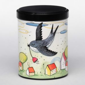 Boîte à thé d'artiste empilable – Hirondelle