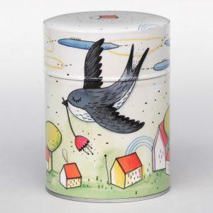 Boîte à thé luxe d'artiste – Hirondelle