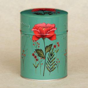 Boîte à thé illustrée Fleur rouge