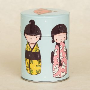 Boîte à thé illustrée Kokeshis