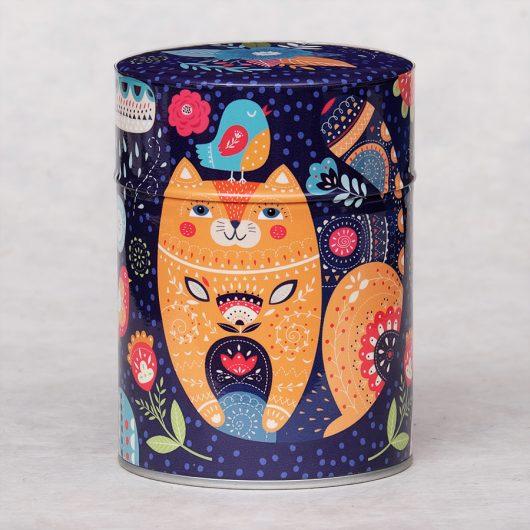 Boîte à thé illustrée Cat and Bird