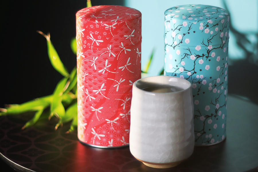Boîte à thé papier japonais washi Tonbo & Hannan